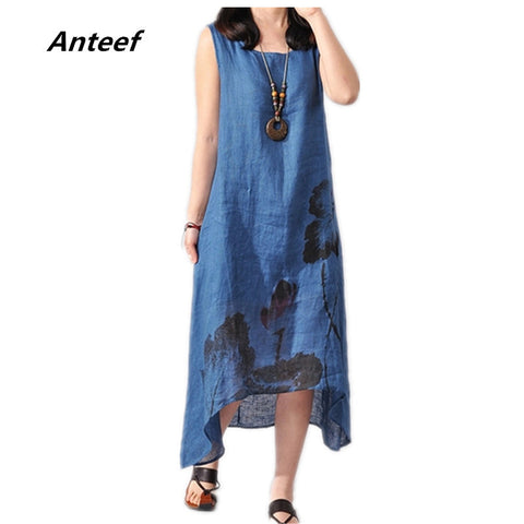 new fashion summer style cotton linen plus size vintage print women casual loose long dress vestido femininos party 2017 dresses