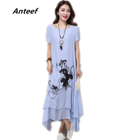 fashion cotton linen plus size vintage print women casual loose long summer dress vestidos femininos party 2017 dresses - Monika's Dresses