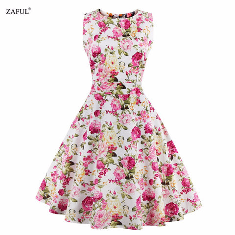 Women Summer Dress 2016 Plus Size Vintage Floral Print 50s 60s Style Dress Women O-neck Sleeveless Party Clubwear Formal Dress - Monika's Dresses