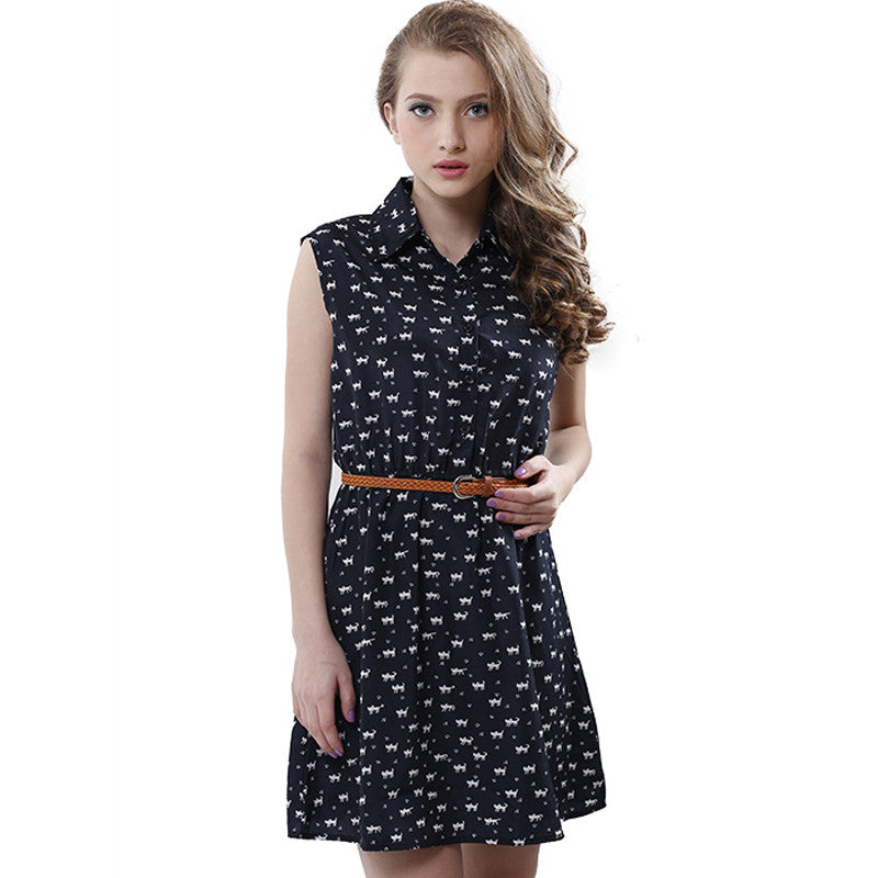 Fun Orange summer fashion new women shirts dress Cat footprints pattern Show thin Shirt dress casual dresses with Belt - Monika's Dresses