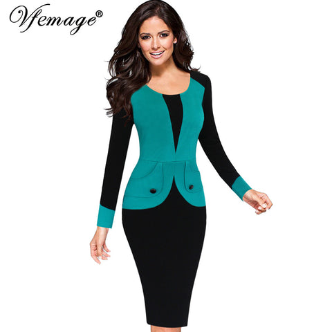 Vfemage Womens Winter Mature Elegant Casual Work Button Patchwork Full Sleeve O-Neck Bodycon Women Office Pencil Slim Dress 4440 - Monika's Dresses