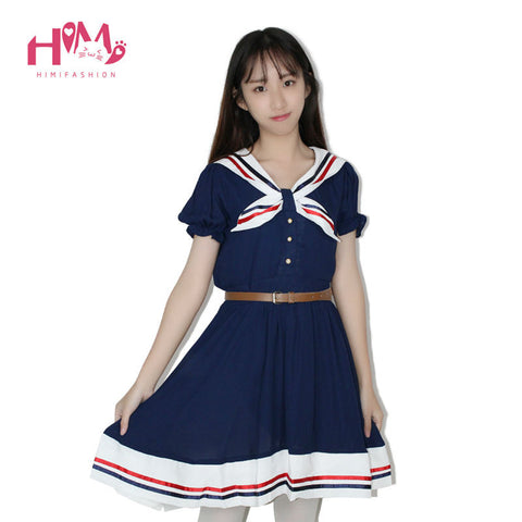 Japanese Fashion Vivi Preppy Princess Dress Harajuku Sailor Collar Navy Lolita Dress Pleated Bow Cotton Dress Pink For Ladies - Monika's Dresses