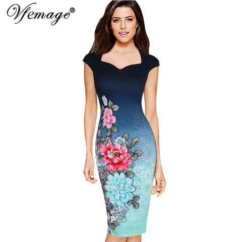 Vfemage Womens Elegant Vintage Floral Print Charming Pinup Cap Sleeve Casual Party Evening Vestidos Pencil Sheath Dress 3013 - Monika's Dresses