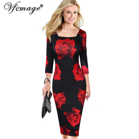 Vfemage Womens Elegant Vintage Flower Floral Print Square Neck Casual Party Evening Special Occasion Pencil Sheath Dress 4052 - Monika's Dresses