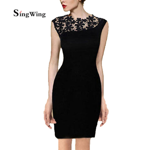 Wholesale Cheap Summer Dresses Short Sleeves Elegant Women Vintage Floral Crochet Cocktail Bodycon Lace Dress Party Dresses - Monika's Dresses