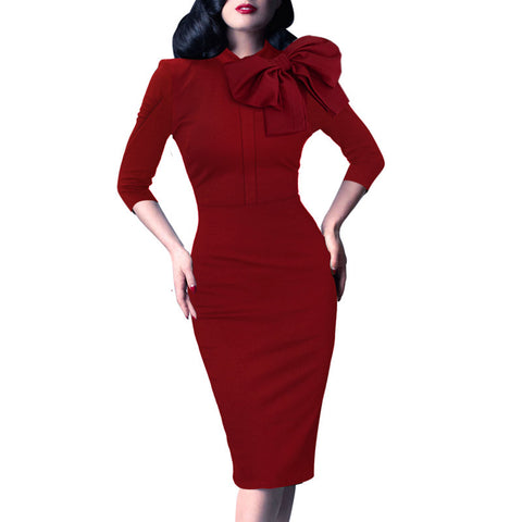 Vfemage Womens Elegant 1950s Vintage Pinup Retro Rockabilly 3/4 Sleeve Bow Party Work Sheath Bodycon Wiggle Pencil Dress 142 - Monika's Dresses