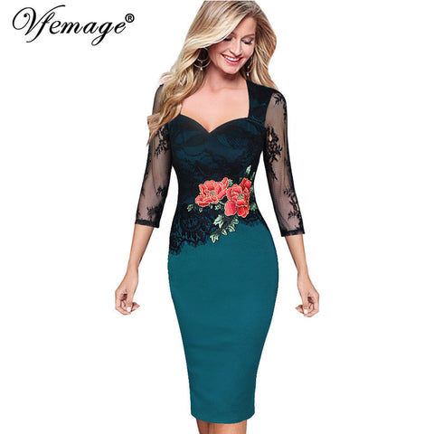 Vfemage Women Embroidered Floral See Through Lace Party Evening Bridemaid Mother of Bride Special Occasion Embroidery Dress 3198 - Monika's Dresses