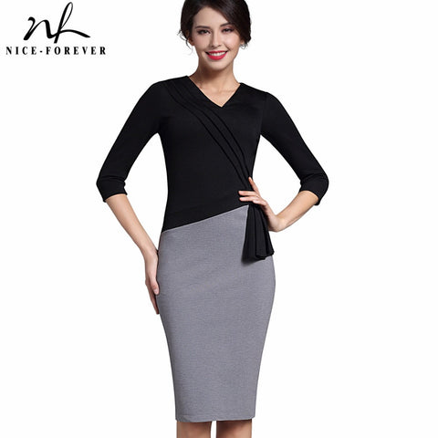 Nice-forever New Mature Elegant V-neck Warm Stylish Wiggle Work dress Office Bodycon Female 3/4 Sleeve Sheath Woman Dress B333 - Monika's Dresses