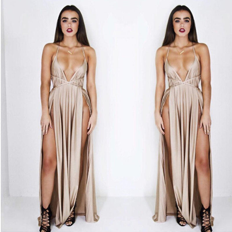 3 Color split maxi dress party nightclub deep v neck sexy solid backless strap dresses drop shipping - Monika's Dresses