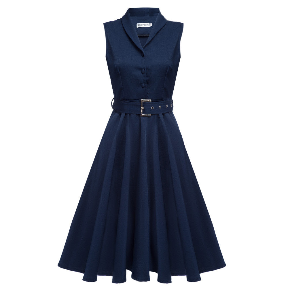 5 Colors 2016 New Women Vintage Dresses Summer Elegant Solid Color Dress Sleeveless Party Dresses Tunic Dress With Belt - Monika's Dresses