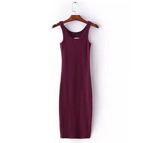 Sexy O neck  Stretch Midi Dress 2016 New Women Brandy Melville AA Vintage Package Hips Long Tank Dresses 4 colors - Monika's Dresses