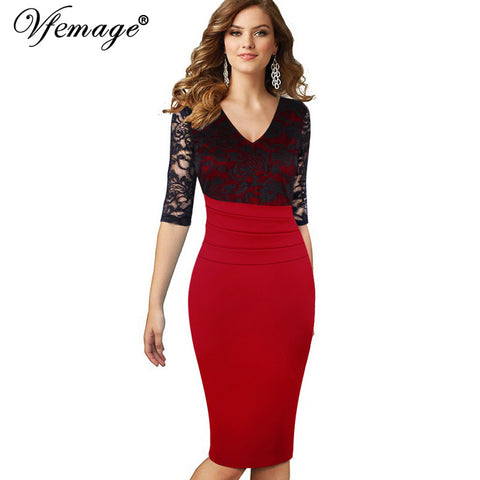 Vfemage Women Sexy Mature Ruffle Vintage Dress V-Neck Lace Top Half Sleeve Zipper Club wear Casual Pencil Office dress 4439