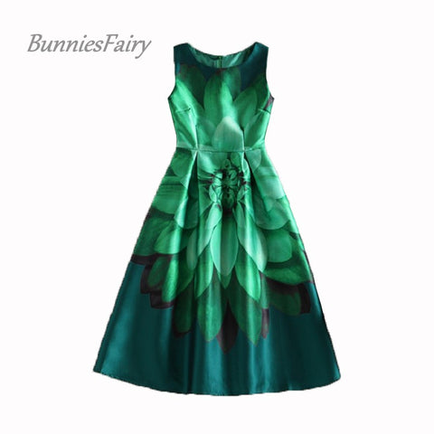 BunniesFairy Celebrity-inspired Women Elegant Vintage Retro Flower Floral Print Vest Dresses Sleeveless O-Neck Vestido de Fiesta - Monika's Dresses