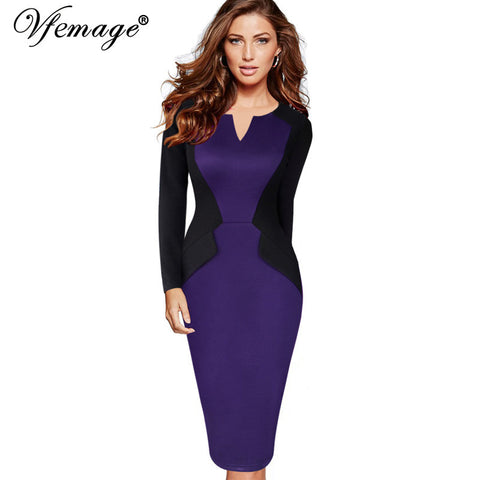 Vfemage Womens Winter Patchwork Mature Stylish Casual Work Full Sleeve Small V-Neck Bodycon Women Office Pencil Slim Dress 4432 - Monika's Dresses