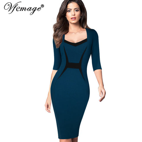 Vfemage Womens Mature Elegant Casual Work Patchwork 3/4 Sleeve Square Neck Bodycon Women Office Wear to work Pencil Dress 4433 - Monika's Dresses