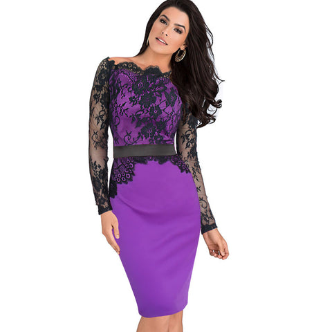 Vfemage Women Elegant Pinup Vintage Retro Lace Off Shoulder Patchwork Belted Stretch Colorblock Bodycon Party Fitted Dress 719 - Monika's Dresses