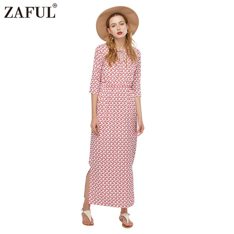 ZAFUL Brand 2016 New Arrival Fashion Half Sleeve Waisted Dress Woman Print Split Long Maxi Shirt Dresses Female Vestidos - Monika's Dresses