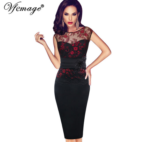 Vfemage Women Sexy embroidered Floral Lace Tunic Party Evening Special Occasion Bridesmaid Mother of Bride Embroidery Dress 4075 - Monika's Dresses
