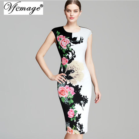 Vfemage Womens Elegant Vintage Flower Floral Printed Contrast Patchwork Slimming Vestidos Casual Party Sheath Bodycon Dress 3091 - Monika's Dresses