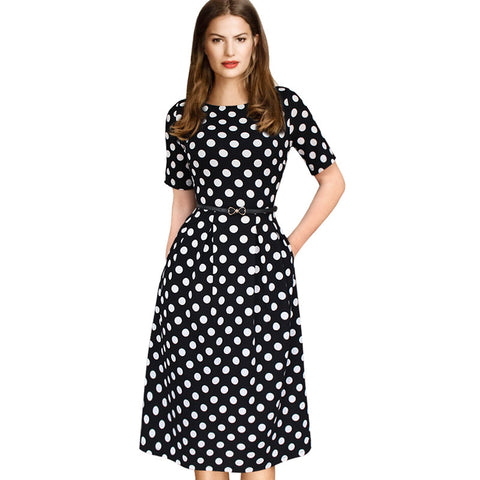 Vfemage Womens Elegant Vintage Summer Polka Dot Belted Tunic Pinup Wear To Work Office Casual Party A Line Skater Dress 2127 - Monika's Dresses