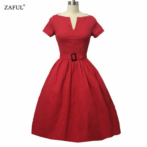 ZAFUL Women Rockabilly Dress PinUp Hepburn V-neck Ball Gown Tunic Swing Vintage Woman Dresses Female Vestidos 50s 60s With Belt - Monika's Dresses