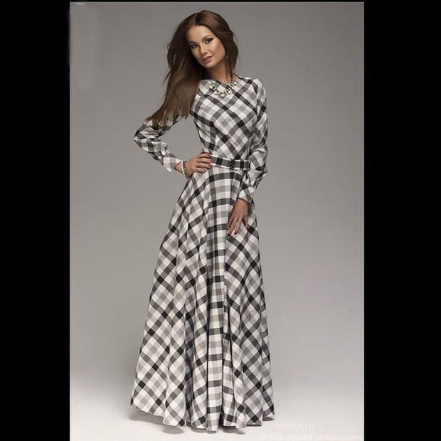 New Arrival winter women maxi dresses casual full sleeve o-neck print plaid elegant party evening maxi long dress plus size 2016 - Monika's Dresses