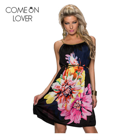 RE7971 Promotions Multi Flowers Ladies beach dress With belt 2016 new women dress fashion newest design strap summer dress