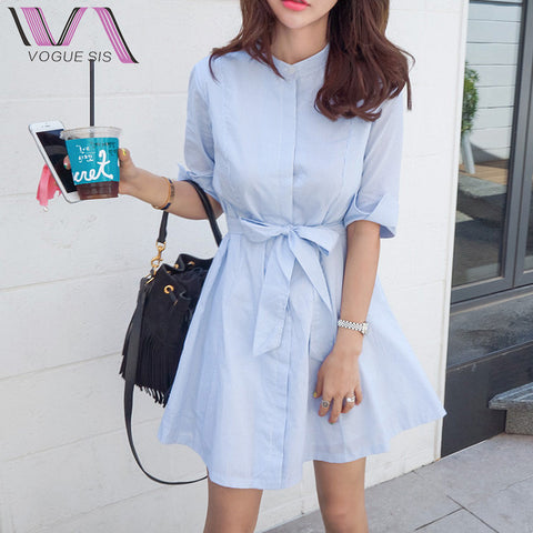 VOGUE SIS A-Line Casual Half Women Dress Summer Hot Selling Stand Striped Cotton Bow Buttons Korean Style Female Shirt Dresses - Monika's Dresses