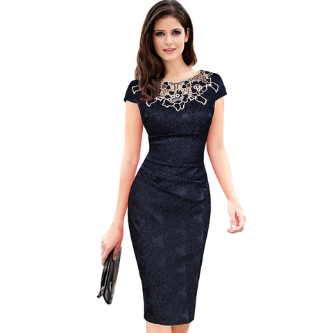 Women embroidery Elegant Vintage Dress Jacquard Dobby Fabric Hollow out Ruched Pencil Office Bodycon Evening Party Vestidos - Monika's Dresses