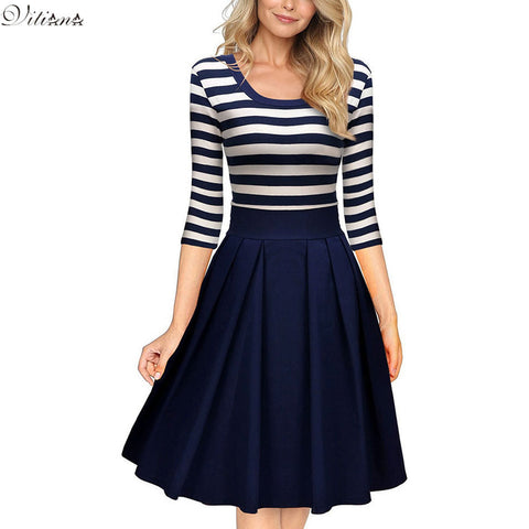 VITIANA Women Slimming Clothing Autumn Casual Striped Bodycon Dress Striped Patchwork O-Neck Office Dresses Vestidos de festa - Monika's Dresses