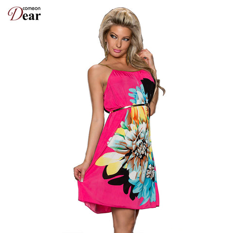 Comeondear Summer Dress On Sale Multi Flowers with Belt Formal Dresses O-neck Ladies Fashion R7971 Popular Flower Print Dress