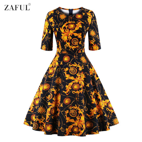 ZAFUL Women O Neck Half Sleeves A-line 50s 60s Audrey Vintage Dress Tropical Ethnic Floral Feminino Vestidos S~4XL Party dresses - Monika's Dresses