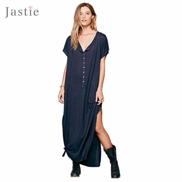 Marrakesh Dress O-Neck Button Placket In The Front Long Slit Up Each Side Maxi Dresses Loose Plus Size Beach Styles Vestidos - Monika's Dresses