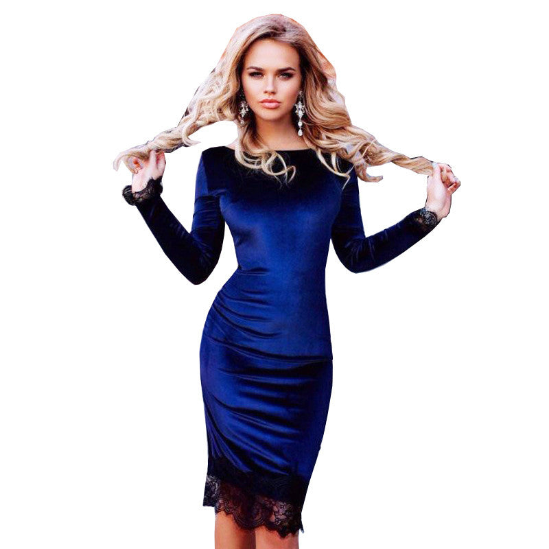 2017 Spring Fashion Blue Velvet Dress With Lace Women Long Sleeve Sexy Slim Sheath Bodycon Party Dresses - Monika's Dresses