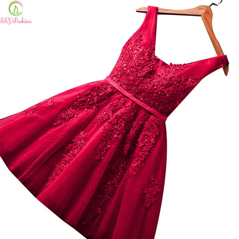 SSYFashion Sexy Short Cocktail Dresses Bridal Banquet Wine Red Lace Backless Party Formal Dress Homecoming Dress Robe De Soiree - Monika's Dresses