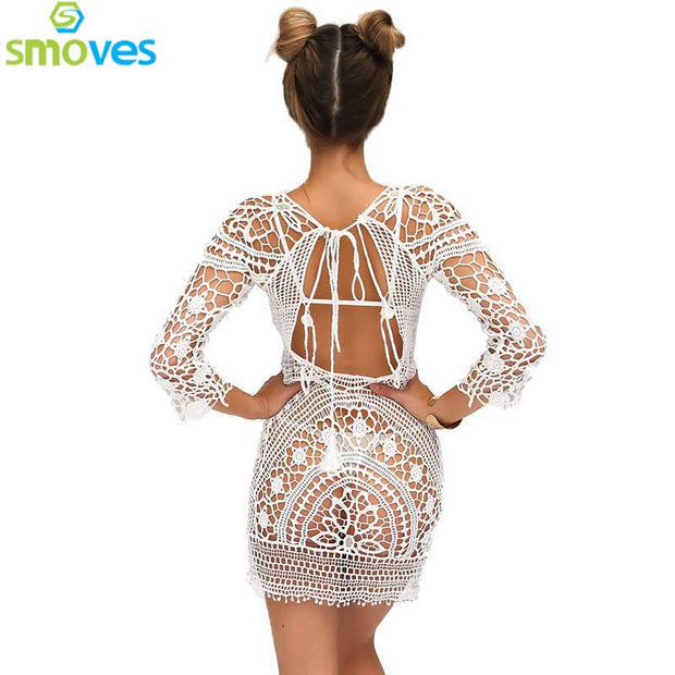 486ef8d39bb7 2017 New Women Summer Dress Chain Cross Hollow Out White Nude Black — Sale  price  68.99 USD · Smoves See Through Hollow Out Embroidery Boho Lace  Crochet 3 4