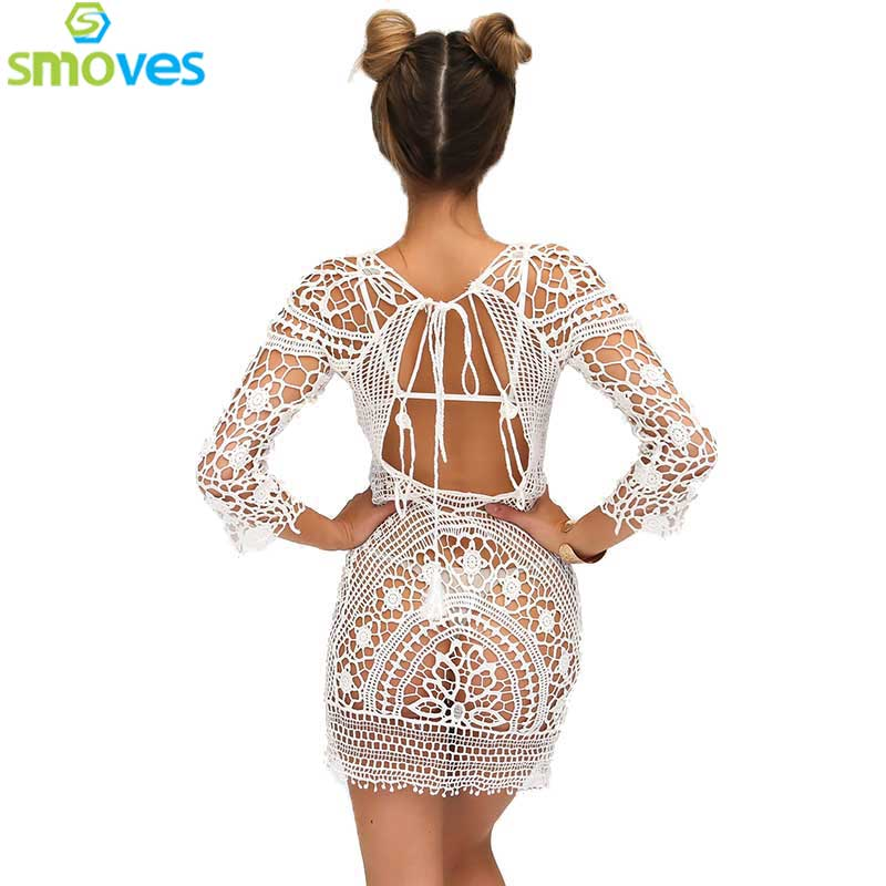 Smoves See Through Hollow Out Embroidery Boho Lace Crochet 3/4