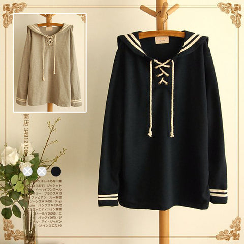 High quality Spring Lolita Cute Grey&Navy Blue Sailor Collar Full sleeve Cute Japan Loose Casual Autumn Mori Girl Short Dress - Monika's Dresses
