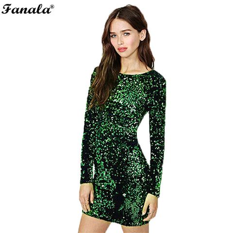 Sequin Dress Women 2017 Special Occasion Bodycon Dress Party Sequined Dresses Long Sleeve Mini Dress Green Vestidos - Monika's Dresses