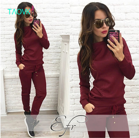 TAOVK design 2016 new fashion Russia style Women Wine red & Apricot-colored , 2-piece Sweatshirt+Long Pant Leisure clothes - Monika's Dresses