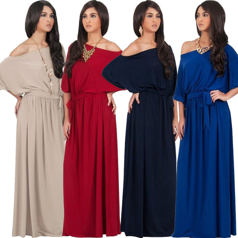 Fashion Women Half Lantern Sleeve Maxi Dress Slash Neck Solid Color Long Dress Engagement Evening Party Floor Length Dress - Monika's Dresses