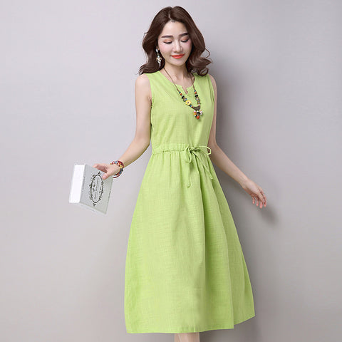 New Summer dress Ethnic Cotton Linen dresses women Solid Casual Loose Sleeveless Plus size YL530 - Monika's Dresses