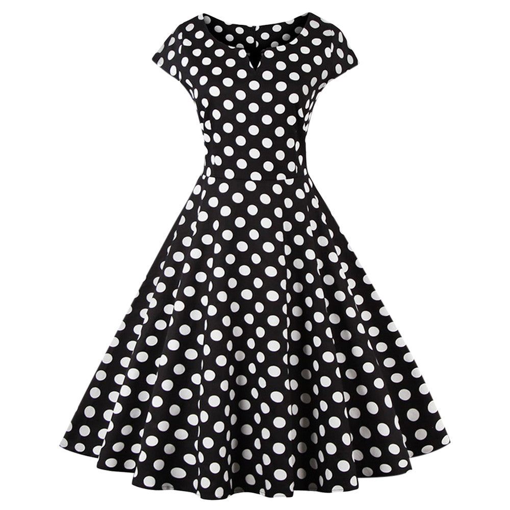 ZAFUL Plus Size S-4XL Women Retro Dress 50s 60s Vintage Rockabilly Swing feminino vestidos V Neck Dot Polka Women Party Dress cb - Monika's Dresses