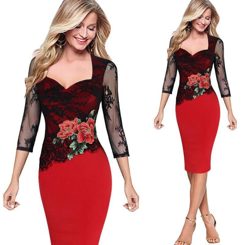 VITIANA 2017 Women Vintage Floral Red Lace Party  Dress Sexy Elegant Bodycon Slim Three Quarter Patchwork Clothing