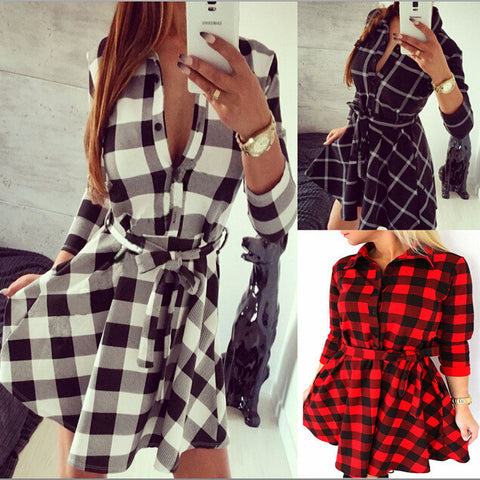 Vancol 2016 Denim Dress Women's Plaid Dress Black Vestidos Femininos V Neck Dress Shirt Checkered Summer Women Plus Size Dress - Monika's Dresses