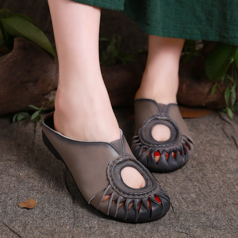 2017 Summer Slippers Genuine Leather Shoes Women Slides Cut Out