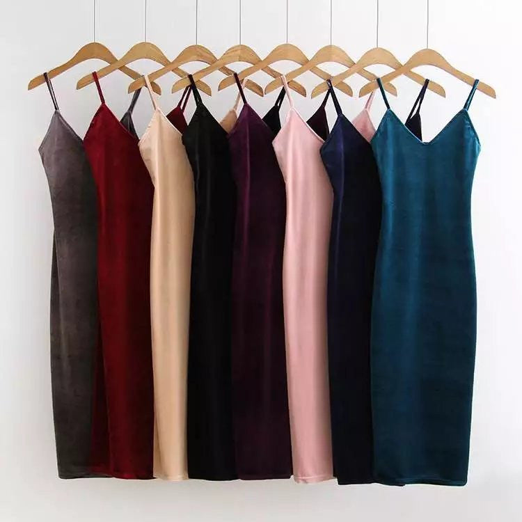 392-30-833 Europe fashion velvet dress dress sexy side slit - Monika's Dresses