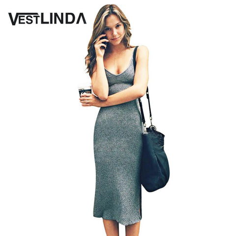 VESTLINDA Knitted Dress Side Split Midi Bodycon Dress Women Summer Brandy Melville Spaghetti Strap Sexy Deep V Neck Beach Dress - Monika's Dresses