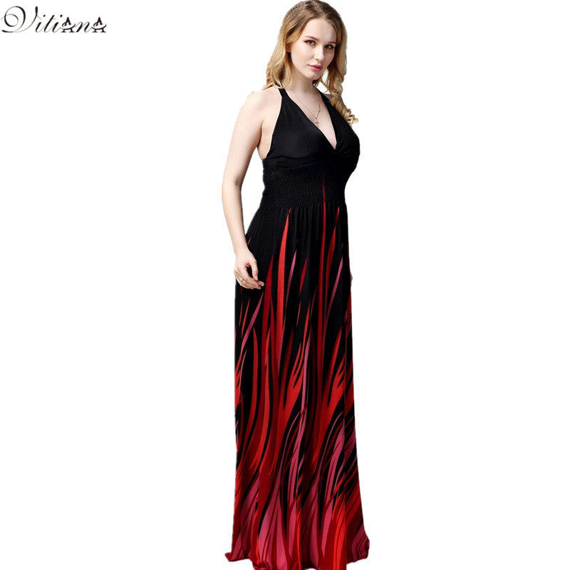 2017 Womens Summer Print Boho Beach Dress Bohemian Elegant Sexy Maxi Long Dresses Plus Size 6XL 7XL Vestidos 5021 - Monika's Dresses