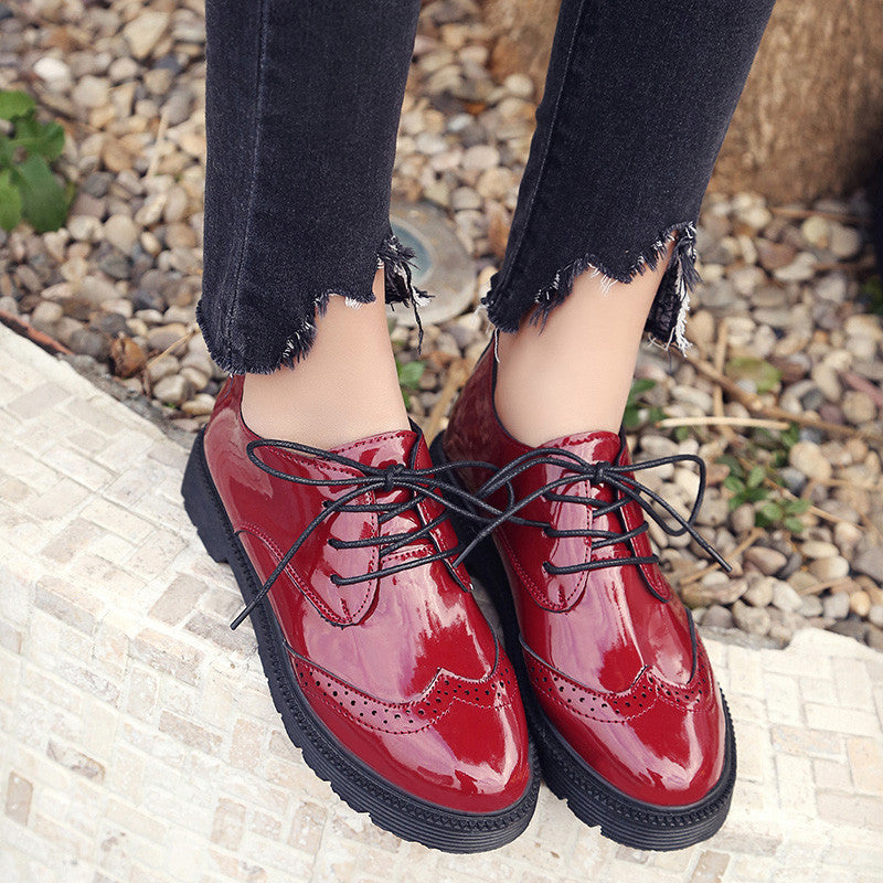 AD AcolorDay Fashion Popular Brogues Oxford Shoes for Women Round